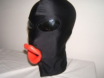 Black Spandex Gimp mask with Latex sissy lips in Red, Black or Pink Size M