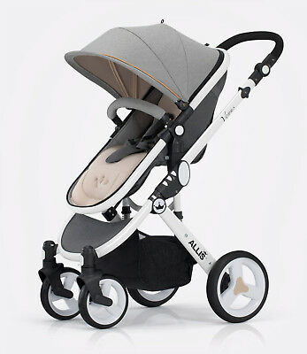 Allis Baby Pushchair Pram Buggy Stroller Carry Cot Grey Rain Cover Padded Liner