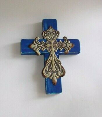 Handcrafted/Re-Cycled Wood Wall Cross-Painted Blue w Antiqued Tin Cross Attached
