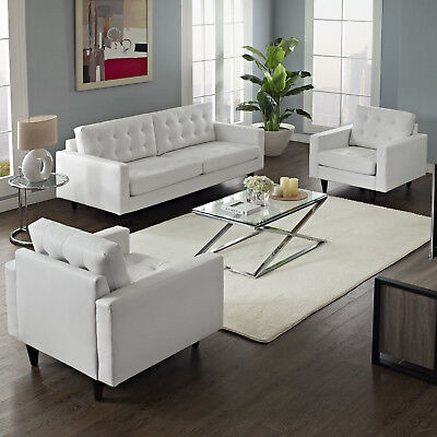 Modway Empress Sofa and Armchairs Set of 3 in White