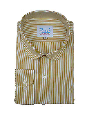 Penny Round Club Collar Peaky Blinders Sand Stripe Shirt Top Gold Stud Button