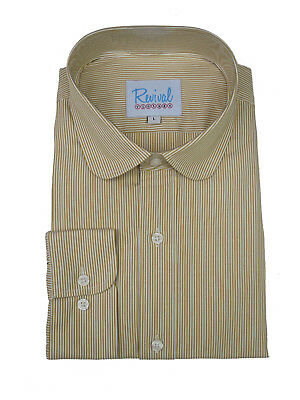 Penny Round Club Collar 1920s 30s Peaky Blinders Vintage Style Sand Stripe Shirt
