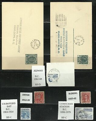 B.C. CANCELS, closed PO's 7 diff., 1 RF-D, 6 RF-C, 2 Water height cards