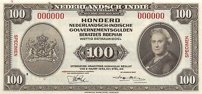 Netherlands Indies 100  gulden / Rupiah  2.3.1943  P 117s  Uncirculated Banknote