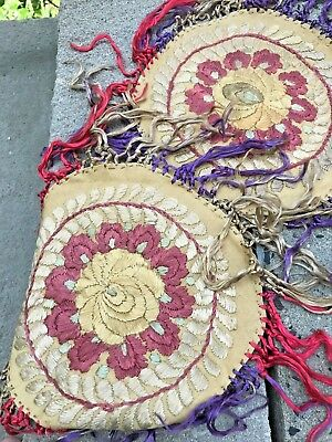 """Pair of Hungarian Embroidered Matyo Doilies 7"""" Round with Silk Fringe Burgundy"""