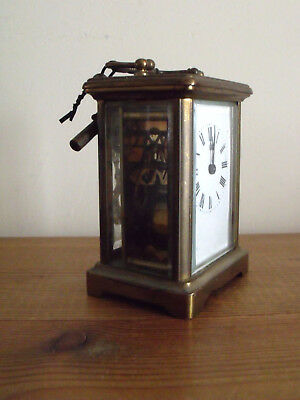 Nice Vintage French Carriage Clock and Key - For Repair as Not Currently Working