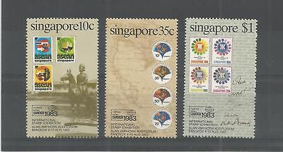 Singapore 1983 Bangkok Int Stamp Ex Sg,454-456 U/mm Nh Lot 7086A