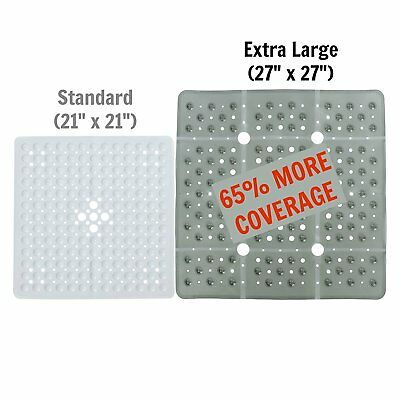 SlipX Solutions Extra Large Gray Square Shower Mat Provides 65% More  Coverage U0026