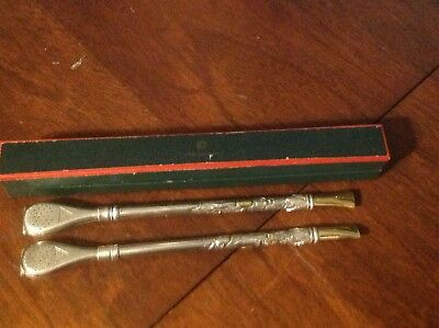 Pair of vintage Industria 800 Argentina 18k Gold silver old Mate Tea Straws!