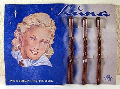 Vintage Luna Bobbie Bob Pin Full Store Display Card Old Store Stock Germany