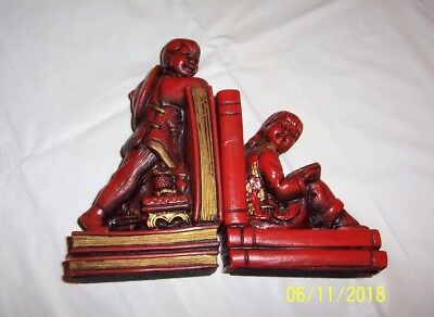 Vintage1964 Universal Statuary Corp, Chicago, Bookends, Chinese/Asian Boy & Girl