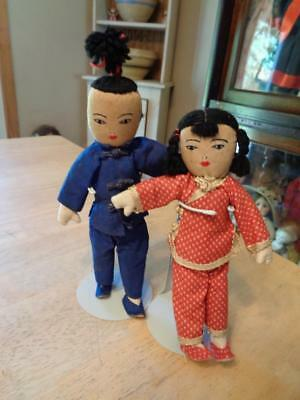 "2 Vintage Cloth Chinese Dolls~8""~"