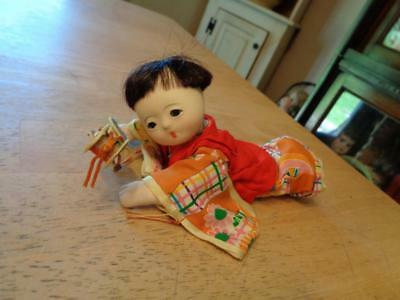 """Vintage Chinese Doll/Child/Laying Down~Gofun Head/Face~Glass Eyes~6""""~"""