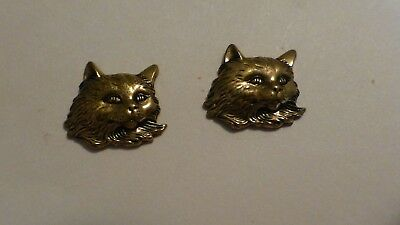 Cat Or Kitten Face Gold Color Pierced Earrings Adorable Excellent Condition