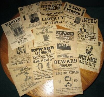 Pledge of Allegiance Old West Wanted Posters Jesse James Butch Cassidy Daltons