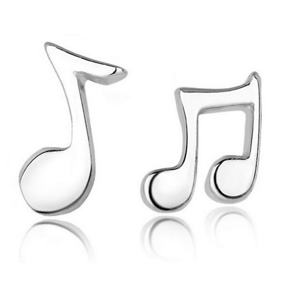 Fashion 925 Silver Plated Ear Stud Elegant Musical Notation Earrings Ear Jewelry