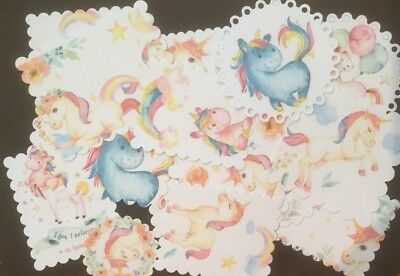 25+ Magical Unicorns Birthday Card Toppers/Scrapbooking Embellishments