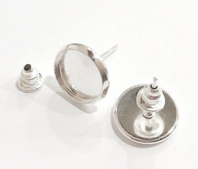 10 Pcs High Quality Silver Plated 10mm Earring Blank Bezel Base Stud with Backs