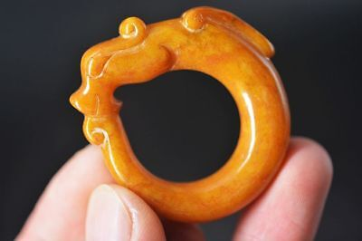Excellent Chinese old jade carved Dragon amulet pendant   E68