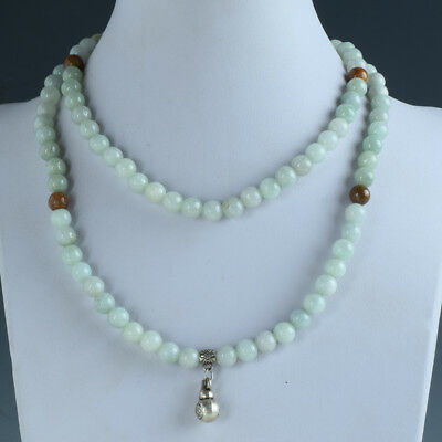 100% Natural Jade Handwork Beads Necklace &Tibet Silver Gourd Type Pendant RX041