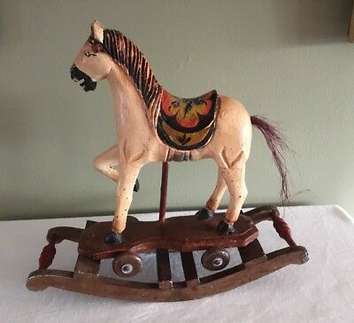 Vintage Wood Carousel Style Rocking Horse, Hand Carved & Painted, Folk Art