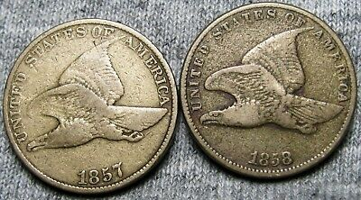 1857 + 1858 Flying Eagle Cents --- TYPE COINS LOT --- #U748