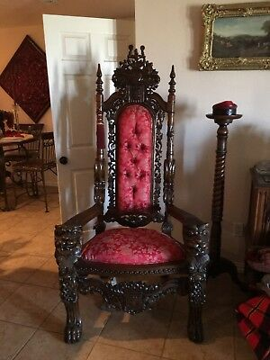 Antique KING THRONE CHAIR. Solid Mahogany. Hand carved.