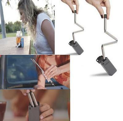 AU Useful Collapsible Reusable Portable Stainless Travel Holiday Outdoor Straw