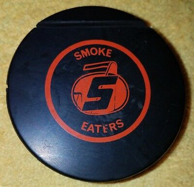 VINTAGE SMOKE EATERS WITH ICE SKATE HOLDER HOCKEY PUCK made in canada