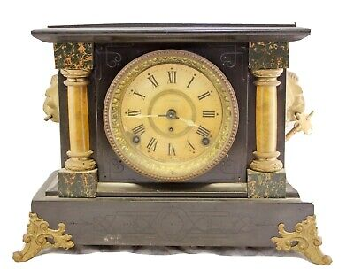 Antique Early 1900s Seth Thomas Adamantine Chime 2 Column Mantle Clock -Works