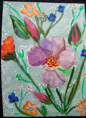 """ACEO-""""#103"""" Original/Signed Mixed Media/Contemporary Floral/Pressed Flower"""