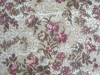"""French Antique 1920s Romantic Country Rose Floral Tapestry Fabric~31""""L  X 24""""W"""
