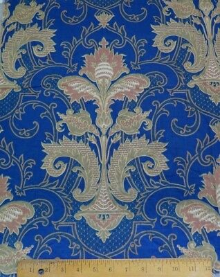 Antique 1870-80 French Indigo Blue Renaissance Style Printed Frame Cotton Fabric