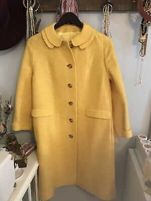 Vintage 60s Coat Bright Yellow Wool Coat