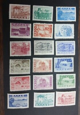 "Greek Stamps Wwii 1942 - 1944 18 Values Complete Set ""landscapes Issue""mh *"