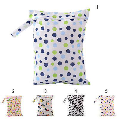 Baby Protable Nappy Washable Nappy Wet Dry Cloth Zipper Waterproof Diaper Bag E&