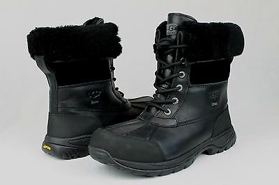 1446595142e UGG AUSTRALIA BUTTE 5521 Waterproof Black Leather Boots Mens Size 10 Us