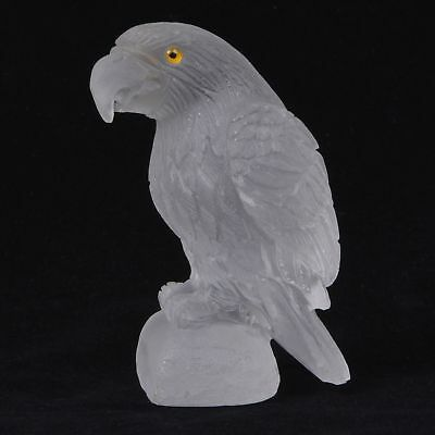 ss25631 87mm Frosted white clear quartz carved eagle bird statue figurine 3.4""