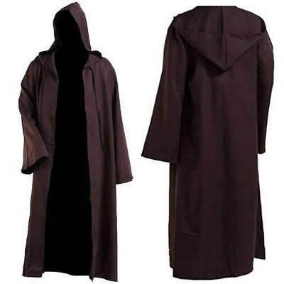 Unisex Wicca Hooded Cloak Long Robe Medieval Witchcraft Larp Cape Halloween New