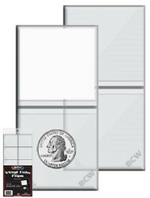 2x2 Coin Flips BCW Double Pocket Clear Coin Holders 2 Packs 200 PCS + Inserts !