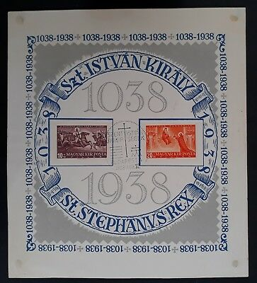 1938 Hungary 900th Anniv of Death of St Stephan Minisheet CTO cancel