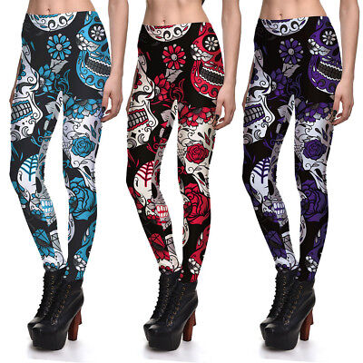 Women Skull Leggings Yoga Sports Fitness Workout Pants Stretch Trousers 3 Colors