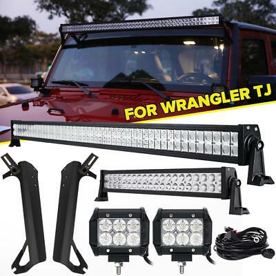 "52inch 700W LED Light Bar +22"" +4"" 18W +Mount Bracket For Jeep Wrangler TJ 97-06"
