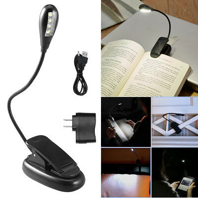 4 LED Klemmleuchte Leselampe Clip-on Tischlampe Buch Lampe Licht Buchlampe Light