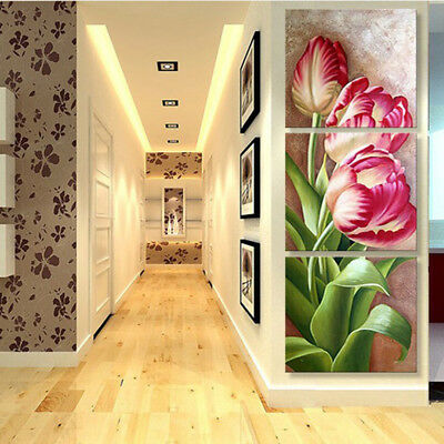 Pink Flower 3 Panel Canvas Wall Art Modular Decorative  Brand New Buy Now