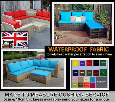 MADE TO MEASURE BOAT CUSHION SERVICE WATERPROOF FABRIC PALLET GARDEN FURNITURE