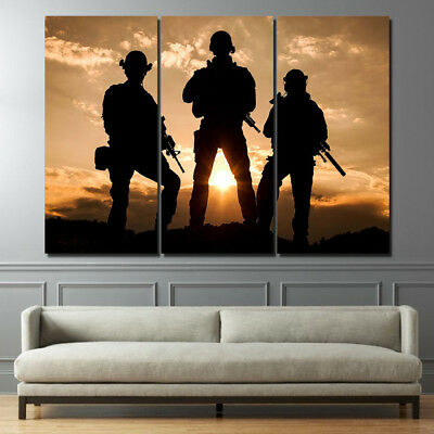 Army Soldiers Landscape 3 Panel Canvas Wall Art Modular Decorative  Brand New