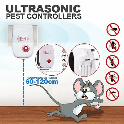 3pcs Electronic Ultrasonic Pest Reject Repeller Bug Mice Rat Spider Roach Killer
