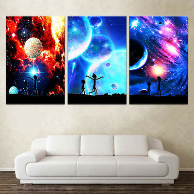 Rick And Morty Starry Sky 3 Panel Canvas Wall Art Modular Decorative  Brand New