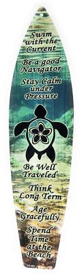 SEA TURTLE Aluminum SURFBOARD Sign Wall Decor 4.5x17 in. Aluminum Surf Plaque